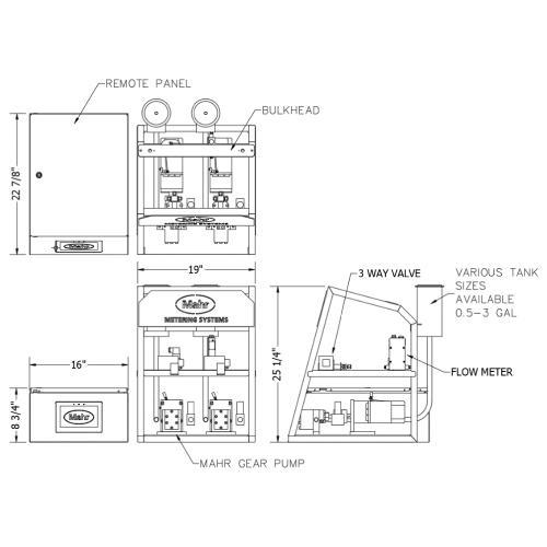 Mahr 2 Part Meter Mix Dispense MiniMax Lab Scale - Front Side Dimensions